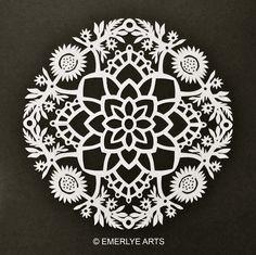 Cynthia Emerlye, Vermont artist and kirigami papercutter: Marigolds for Chocolate - Kirigami Mandala