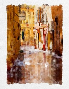French urban landscape City Landscape  Watercolor Painting Art Print  8x10 '' beige black brown Home Decor  Wall Decor Kitchen Decor