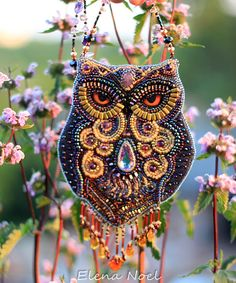 Fabulous amethyst owl. Beaded necklace with owl. por ElenNoel