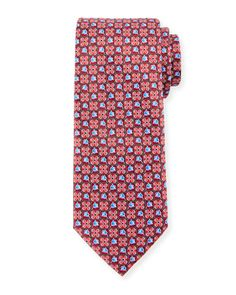 Boxed Flower-Print Silk Tie, Red by Ermenegildo Zegna at Neiman Marcus.