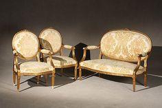 Louis XVI Style Giltwood Three-Piece Salon Suite First Quart