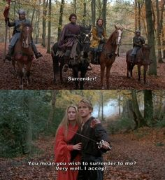 """Laugh of the day! """"You mean you wish to surrender to me?"""" (from the movie, The Princess Bride)"""