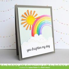Lawn Fawn - Puffy Cloud Borders, Rainbow, Spring Showers, Stitched Rectangle Stackables, Summertime Charm _ card by Chari for Lawn Fawn Design Team