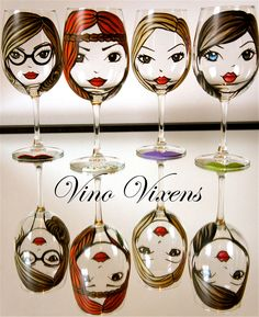 Vino vixens, hand painted custom wine glass gift set of 4 by MySistersBoutique on Etsy
