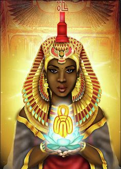 Isis (Auset in Kemetic) was originally a Goddess from Nubia and was adopted into Egyptian belief. Her name literally means female of throne, Queen of the throne. Wife and sister to Asar (Osiris) and mother of Horus. By Emhotep Richards Isis Goddess, Egyptian Goddess, Egyptian Art, Egyptian Women, Mother Goddess, African American Art, African Art, African Women, Black Women Art