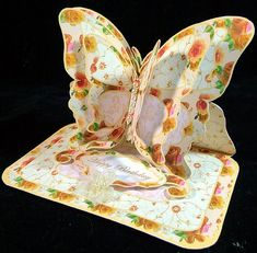Layered Butterfly Easel - 50th - CUP528355_173 | Craftsuprint Butterfly Mobile, Easel Cards, Glue Sticks, Patchwork Designs, Pretty Cards, 50th, Card Making, Layers, Prints