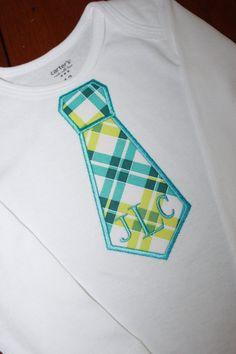 Monogrammed tie onesie by Mommymadeitcreation on Etsy, $16.00