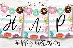 Donut birthday banner, Donut instant download party banner, You print birthday banner, Donut DIY party banner Diy Party Banner, Diy Donuts, Party Printables, Birthday Celebration, First Birthdays, Card Stock, Paper, Etsy, One Year Birthday
