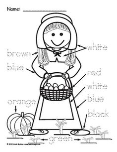 Pilgrim Boy and Girl Color Word Worksheets