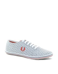 Fred Perry Kingston Pique Print Plimsolls