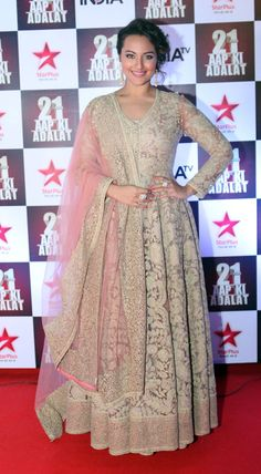 Sonakshi Sinha looked pretty in a beige ensemble at the 'Aap Ki Adalat' 21 year celebrations.