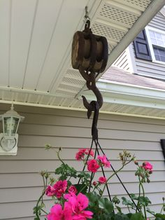 Antique Block & Tackle for plant hanger Hook And Tackle, Plant Hanger, Wind Chimes, Garden Ideas, Coastal, Outdoors, Patio, Spaces, Country