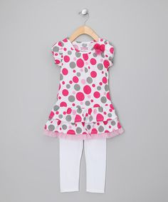 Take a look at this Pink Polka Dot Tunic & Leggings - Infant, Toddler & Girls by Buster Brown & Co. on #zulily today!