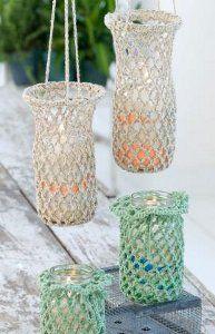 Fun Crocheted Hanging Luminaries | FaveCrafts.com
