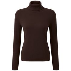 Pure Collection Maria Roll Neck Jumper, Chocolate ($145) ❤ liked on Polyvore featuring tops, sweaters, long sleeve sweater, turtleneck sweater, long sleeve jumper, roll neck sweater and rollneck sweaters