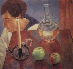 Kuzma Petrov-Vodkin: Still-Life with Candle and Carafe. 1918. State Tretyakov Gallery. Moscow. Russia.