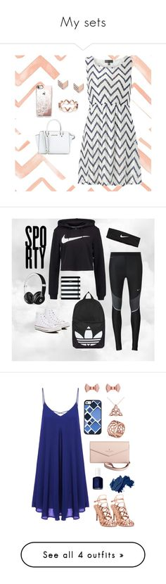"""My sets"" by softball4volleyball10 ❤ liked on Polyvore featuring FOSSIL, Mela Loves London, Casetify, NIKE, Converse, Topshop, Beats by Dr. Dre, Kate Spade, Madden Girl and Essie"