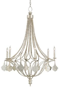LAVINIA CHANDELIER  #934330RD X 44H Simple and feminine, the Lavinia Chandelier evokes charm and elegance with a stunning Grecian Silver Leaf finish and glimmering mirror facets. Stylish simplicity is the appeal of this chandelier.