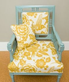 What a great painted chair re-do!  Love this aqua color and the white/gold really sets it off.  Fabulous.