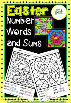 This is a fun purposeful colouring activity for improving visual discrimination, fine motor skills and number word recognition up to twenty. Addition and subtraction within 0 – 10 and addition and subtraction within 0 – 20 are also used for completing the colourful Easter related pictures. After reading the words or completing the sums, colour coding is supported by having the appropriate colours in circles around the identified numbers.