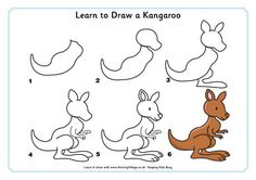 You'll have a lot of fun with this learn to draw a kangaroo activity. If you're feeling inspired why not create an outback scene with our other Australian animal learn to draw activites. Easy Drawings For Kids, Drawing For Kids, Painting For Kids, Drawing Tips, Doodle Drawings, Cartoon Drawings, Animal Drawings, 3d Drawings, You Draw