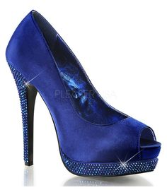 Bella Peep Toe Navy Blue Satin Pumps