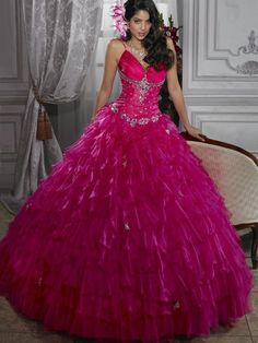 Ball Gown Organza Spaghetti Straps Empire Floor-Length Lace-up Sleeveless Beading Ruffles Tier Prom Dress, magenta
