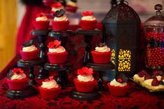 'HOT' Red and Black Bridal Shower Dessert Table » mondeliceblog.com Red Bridal Showers, Bridal Shower Desserts, Elegant Bridal Shower, Zombie Wedding, Hot Wheels Birthday, Love Fest, 60th Birthday Party, Dessert Table, Sweet 16