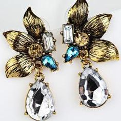 ($10.75) Feature:  100% brand new and high quality.  New design, Very popular.  Material: Alloy+Crystal  Package Content: 1Pair of Earrings