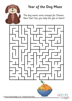 Help the dog find his way through the maze to the bowl of lucky Chinese New Year oranges. This maze has a medium level of difficulty, and you can try our easier and trickier mazes too! Year Of The Snake, Year Of The Monkey, Year Of The Horse, Dog Puzzles, Puzzles For Kids, New Year Printables, Zodiac Years, Dog Years, Chinese Zodiac