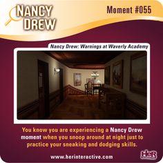 Nancy Drew moment from Warnings at Waverly Academy: sneaking around at night.  #NancyDrew #WAC #HerInteractive