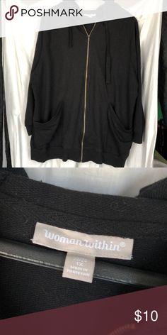 287bfefd3 Woman Within Large black zip tunic hoodie Front slash pockets, wide ties.  Woman Within Tops Sweatshirts & Hoodies