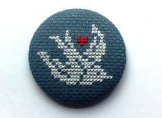 Brooch Vintage Love Swallow Cross Stitch Unique by COSIMITAS