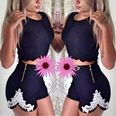 conjunto cropped e short Girl Fashion, Fashion Looks, Womens Fashion, Short Outfits, Summer Outfits, Cute Outfits With Jeans, Romper With Skirt, Latest African Fashion Dresses, Kinds Of Clothes