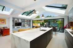 We removed an existing side and rear extension to create stunning wraparound extension with glazed gable roof. The subsequent large internal space houses a stylish kitchen / dining / living . Kitchen Extension Open Plan, House Extension Plans, House Extension Design, Rear Extension, Wraparound Extension, House Design, Small Open Plan Kitchens, Open Plan Kitchen Dining Living, Open Plan Kitchen Diner