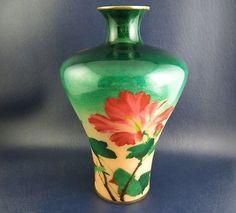 Antique-Japanese-Wireless-Cloisonne-Vase-Signed-Kumeno-Teitaro-Floral-Decoration