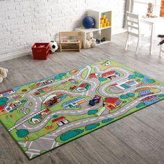 Kids Playing Room Decorated With Worth Watching Theme. Children Would Love To Play On That Road Themed Rug #Kids #Children #Theme #Room #Rug #Road #99Rugs