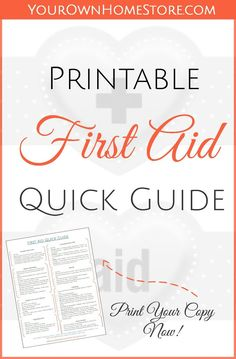 A Free Printable First Aid Guide - - Even if you are well trained, first aid skills might be tough to remember under pressure. Be prepared and print this first aid quick guide for your pantry, car and babysitter! First Aid Kit Checklist, Diy First Aid Kit, First Aid For Kids, Camping First Aid Kit, First Aid Tips, Basic First Aid, Emergency First Aid, Emergency Binder, Emergency Care