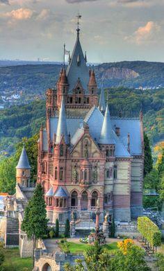 The unique architecture of Schloss Drachenburg in Königswinter, Germany.