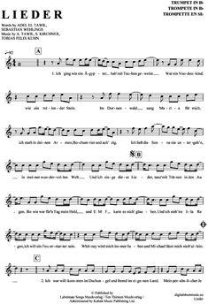 Lieder (Trompete in B) Adel Tawil [PDF Noten] >>> KLICK auf die Noten um Reinzuhören <<< Noten und Playback zum Download für verschiedene Instrumente bei notendownload Blockflöte, Querflöte, Gesang, Keyboard, Klavier, Klarinette, Saxophon, Trompete, Posaune, Violine, Violoncello, E-Bass, und andere ...