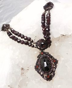 Bohemian Garnet Victorian Necklace by Mosaicsandjewelry on Etsy, $685.00