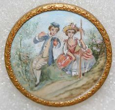 ca 1860 French hand painted ivory set in metal.