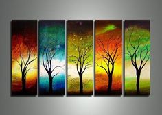 Large Acrylic Painting, Tree of Life Painting, Living Room Wall Art Paintings, Modern Contemporary Art, Tree Paintings Tree Of Life Painting, Room Wall Painting, Hand Painting Art, Acrylic Painting Canvas, Acrylic Art, 5 Piece Canvas Art, Large Canvas Art, Canvas Wall Art, Canvas 5