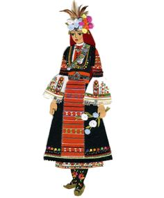 Bulgarian national dress Europe Fashion, Fashion History, Fashion Art, Tribal Costume, Folk Costume, Dress Illustration, Costumes Around The World, Drawing Clothes, Historical Costume