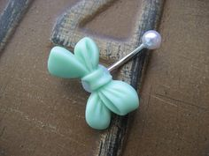 Belly Button Jewelry- Mint Bow Pearl Stud Navel Ring Piercing Bar Barbell Green Seafoam Sea Foam Bellyring