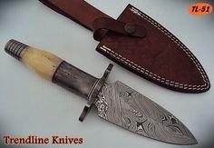 DAMASCUS STEEL CUSTOM HAND MADE DAGGER KNIFE,COLORED BONE HANDLE. #BestSteelWarrior