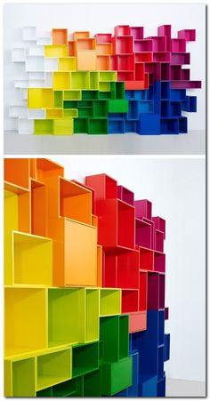 Sectional modular MDF storage wall by Cubit by Mymito. Not a fan of the rainbow but love the shelves Rainbow Room, Rainbow Colors, Rainbow House, Rainbow Nursery, Bright Colours, Kids Dressers, Wall Storage, Modular Storage, Modular Shelving