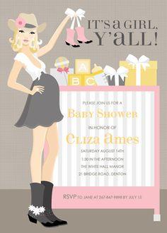 Cowgirl Crib - Pink (Blonde) Invitations by Doc Milo - Invitation Box