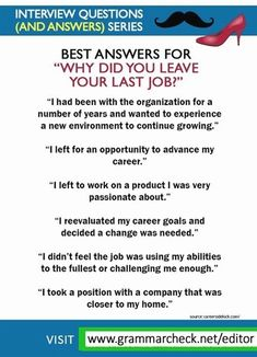 "Sentences you can use to answer the interview question ""Why did you leave your last job? Job Interview Answers, Behavioral Interview Questions, Job Interview Preparation, Job Interview Tips, Job Interviews, Interview Tips Weaknesses, Job Resume, Resume Tips, Job Help"