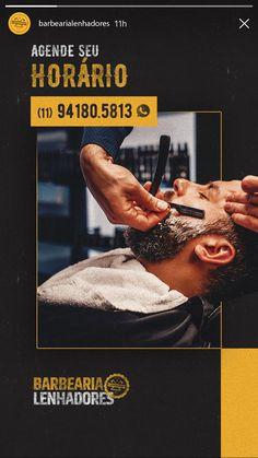 Barbearia Lenhadores - Agência Fante Church Graphic Design, Graphic Design Flyer, Graphic Design Projects, Corporate Design, Ad Design, Flyer Design, Social Media Banner, Social Media Template, Social Media Design